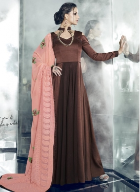 Satin Silk Embroidered Work Floor Length Gown