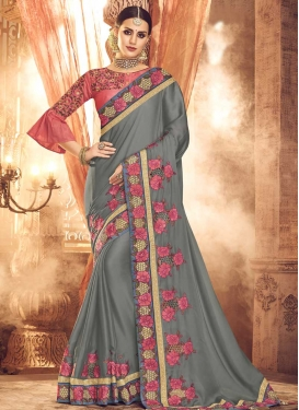 Satin Silk Embroidered Work Grey and Salmon Traditional Saree