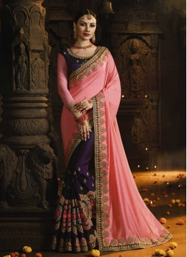 Satin Silk Embroidered Work Half N Half Saree