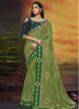 Satin Silk Embroidered Work Navy Blue and Olive Designer Contemporary Style Saree