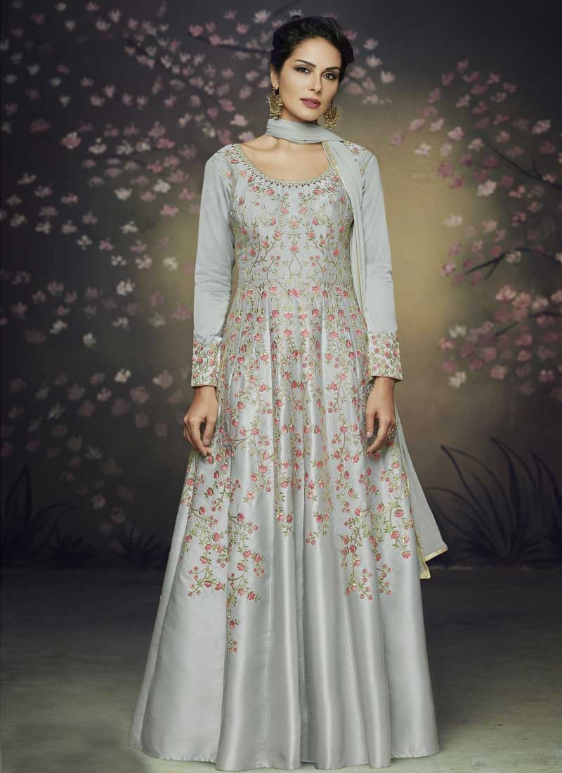 Satin Silk Embroidered Work Readymade Classic Gown
