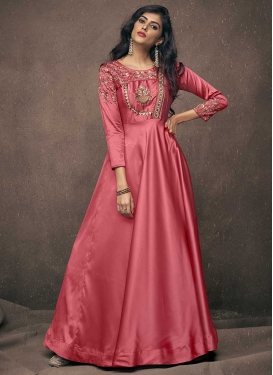 Satin Silk Embroidered Work Readymade Designer Gown