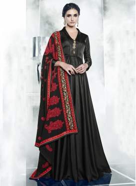 Satin Silk Embroidered Work Readymade Long Length Gown