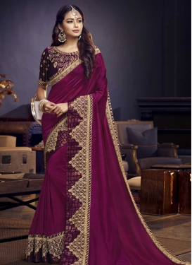 Satin Silk Embroidered Work Traditional Designer Saree