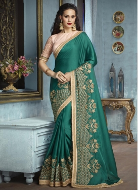 Satin Silk Embroidered Work Traditional Saree