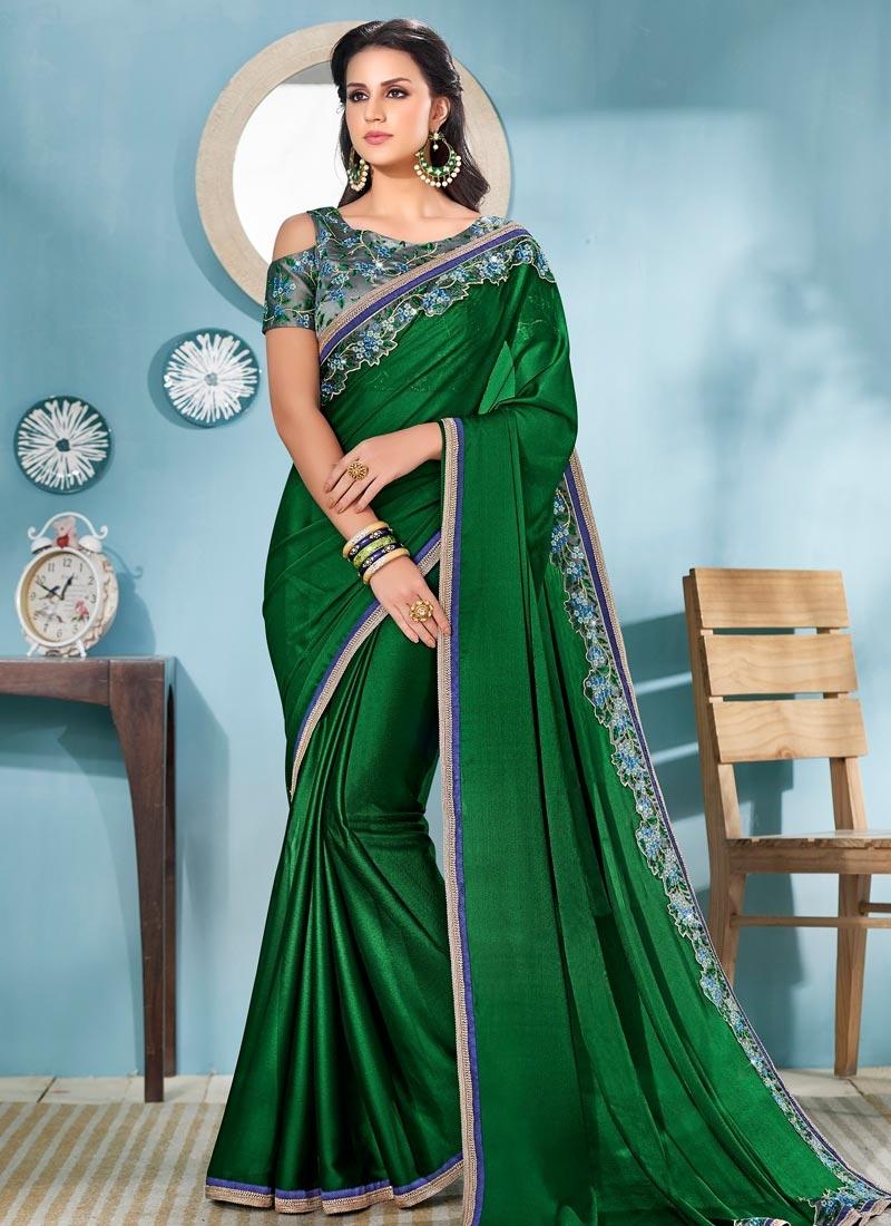 Satin Silk Embroidered Work Trendy Classic Saree