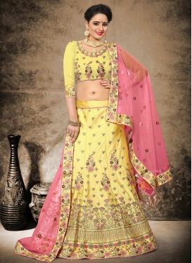 Satin Silk Embroidered Work Trendy Lehenga