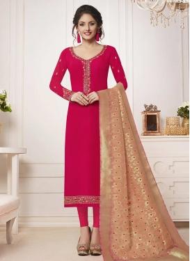 Satin Silk Embroidered Work Trendy Pakistani Salwar Suit