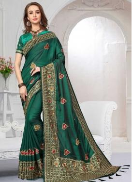 Satin Silk Embroidered Work Trendy Saree
