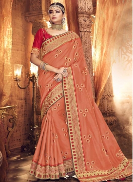 Satin Silk Embroidered Work Trendy Saree