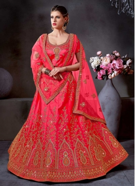 Satin Silk Fish Cut Designer Lehenga Choli