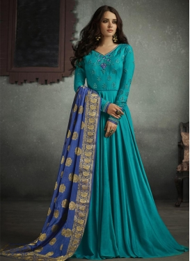 Satin Silk Floor Length Designer Salwar Suit For Festival