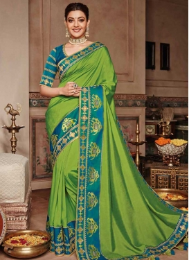 Satin Silk Green and Light Blue Contemporary Saree