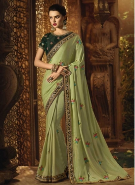 Satin Silk Green and Mint Green Embroidered Work Contemporary Style Saree