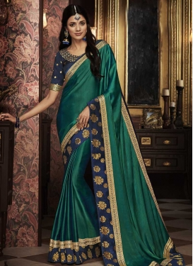 Satin Silk Green and Navy Blue Embroidered Work Designer Contemporary Style Saree