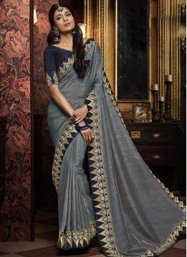 Satin Silk Grey and Navy Blue Designer Contemporary Saree For Festival