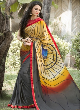 Satin Silk Grey and Orange Digital Print Work Traditional Saree
