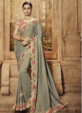 Satin Silk Grey and Salmon Embroidered Work Trendy Classic Saree