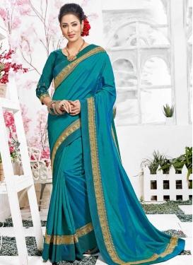 Satin Silk Lace Work Contemporary Style Saree