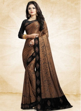Satin Silk Lace Work Trendy Classic Saree
