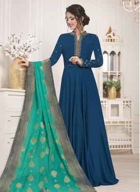 Satin Silk Long Length Designer Suit For Festival