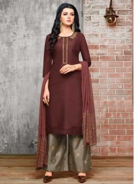 Satin Silk Maroon and Sea Green Palazzo Straight Salwar Suit