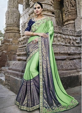 Satin Silk Mint Green and Navy Blue Designer Contemporary Style Saree