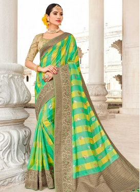 Satin Silk Mint Green and Yellow Beads Work Designer Contemporary Style Saree