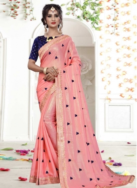 Satin Silk Navy Blue and Pink Contemporary Style Saree