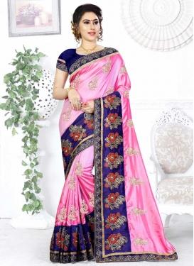Satin Silk Navy Blue and Pink Trendy Saree