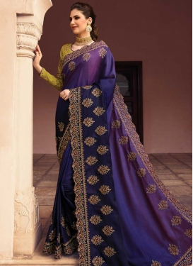 Satin Silk Navy Blue and Purple Trendy Saree For Bridal