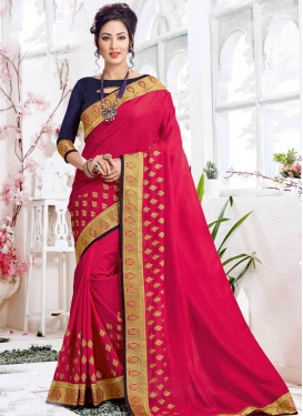 Satin Silk Navy Blue and Rose Pink Trendy Classic Saree For Festival