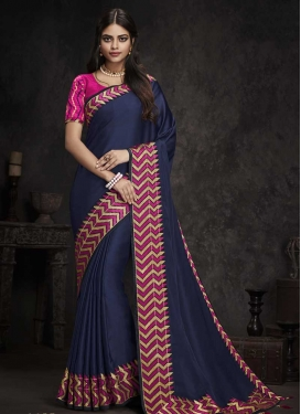 Satin Silk Navy Blue and Rose Pink Trendy Saree For Ceremonial