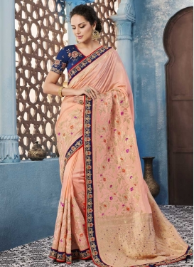 Satin Silk Navy Blue and Salmon Lace Work Trendy Classic Saree