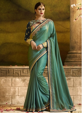 Satin Silk Navy Blue and Sea Green Embroidered Work Designer Contemporary Style Saree