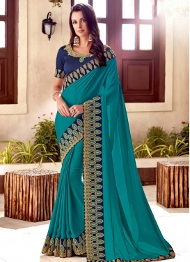 Satin Silk Navy Blue and Teal Traditional Designer Saree For Festival