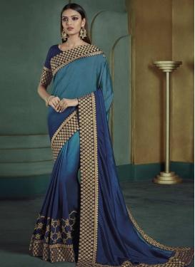 Satin Silk Navy Blue and Teal Trendy Classic Saree