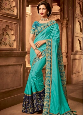 Satin Silk Navy Blue and Turquoise Embroidered Work Designer Contemporary Style Saree