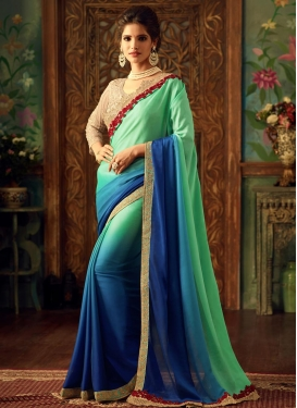 Satin Silk Navy Blue and Turquoise Trendy Saree For Festival
