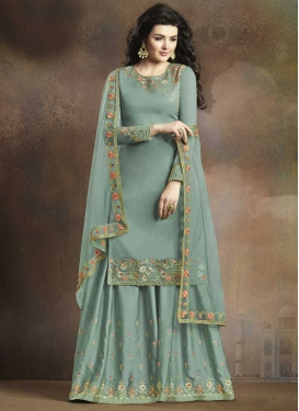 Satin Silk Palazzo Designer Salwar Kameez For Ceremonial
