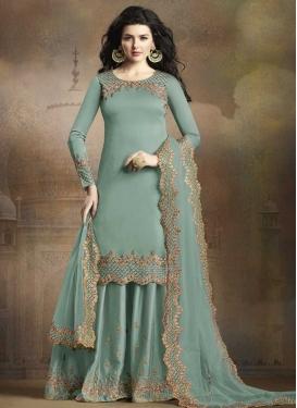 Satin Silk Palazzo Straight Salwar Suit