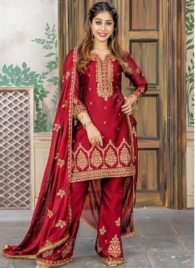 Satin Silk Pant Style Designer Salwar Kameez For Festival