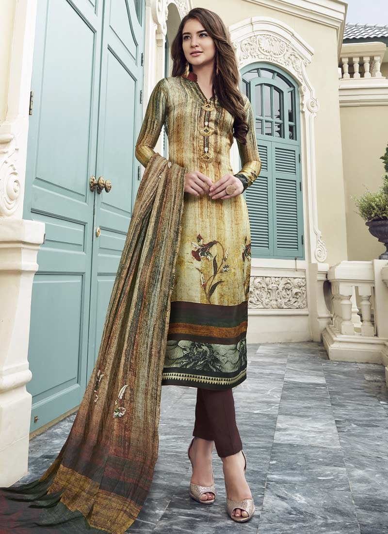 Satin Silk Pant Style Salwar Kameez