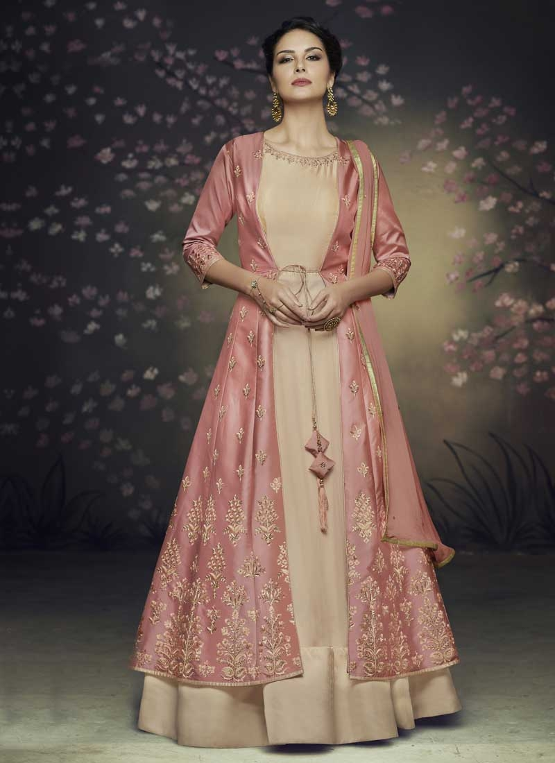 Satin Silk Readymade Designer Gown