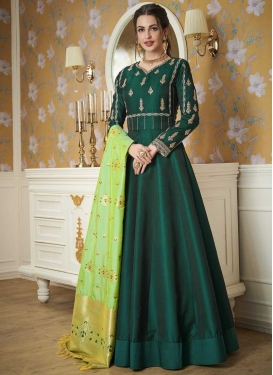 Satin Silk Readymade Floor Length Gown