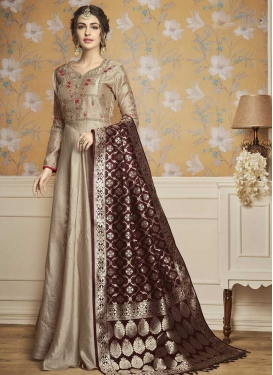 Satin Silk Readymade Long Length Gown For Festival
