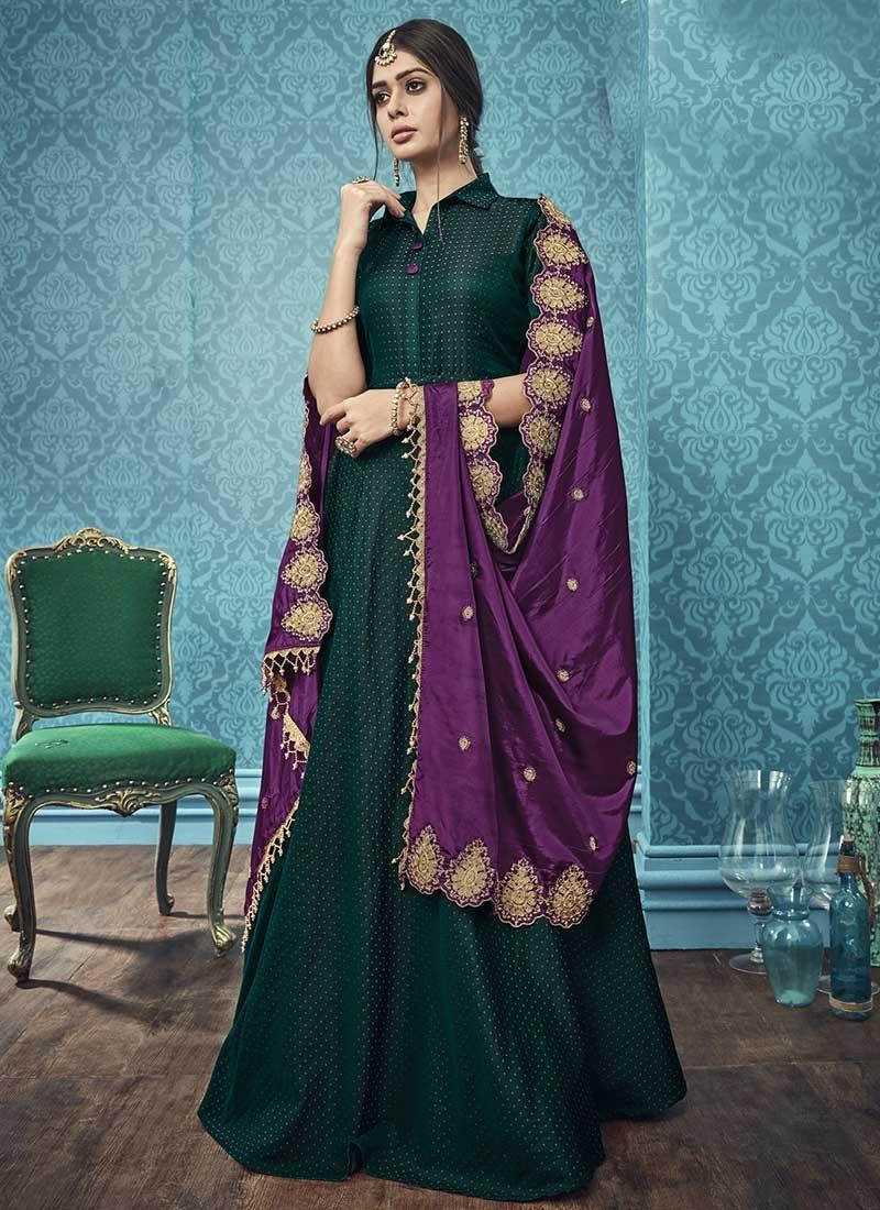 Satin Silk Readymade Long Length Gown For Festival