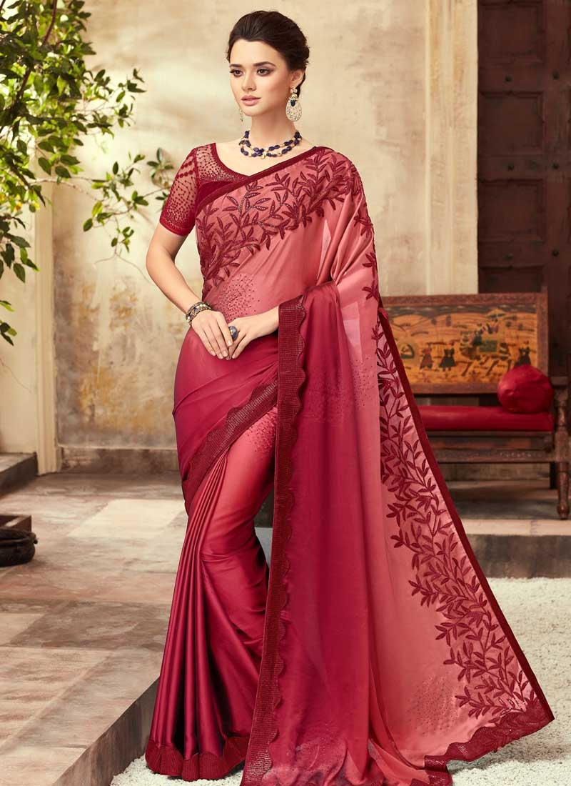 Satin Silk Red and Salmon Designer Traditional Saree