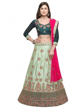 Satin Silk Sea Green and Teal Trendy A Line Lehenga Choli