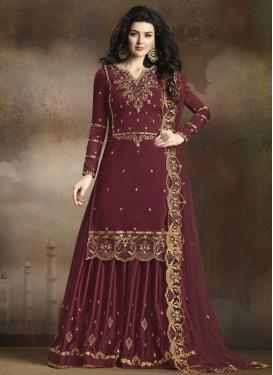 Satin Silk Sharara Salwar Suit
